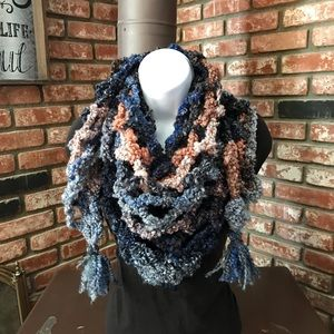 Handmade Crochet Triangle Scarf .